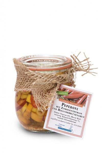 Peperoni mit Zitronenthymian und Holunderblütensirup